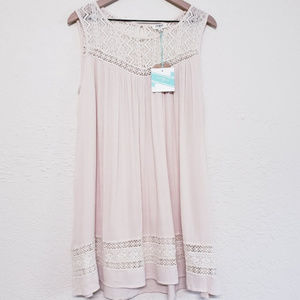 Umgee NWT lace boho babydoll sheer tunic top Small